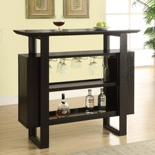 Bar Unit with Bottle and Glass Storage