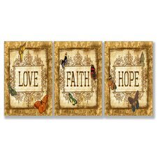 Home Décor Love Faith Hope Tapestry Triptych Art