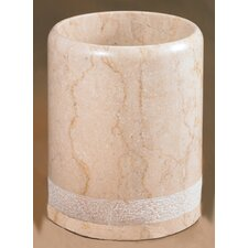 Champagne Marble Spa Hand Carved Waste Basket