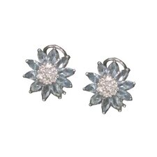 Flower Rhodium Plated Earrings