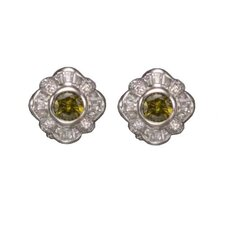 Peridot Clip Post Rhodium Plated Earrings
