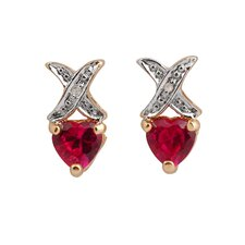 Heart Cubic Zirconia and Gem Earrings