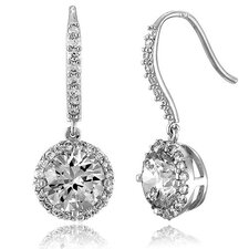 Cubic Zirconia Dangling Drop On Euro Earrings