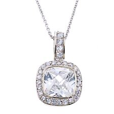 Square Cubic Zirconia Diamond Pendant