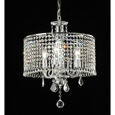 3 Light Crystal Drum Foyer Pendant