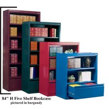 "84"" H Five Shelf Bookcase with File Drawer"