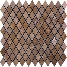 "Noce 12"" x 12"" Tumbled Travertine Diamond Mosaic in Brown"