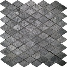 "12"" x 12"" Tumbled Slate Diamond Mosaic in Ostrich Grey"