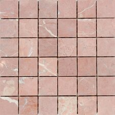 "12"" x 12"" Honed / Tumbled Marble Mosaic in Rojo Alicante"
