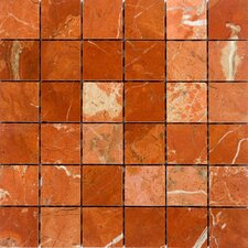 "12"" x 12"" Polished / Tumbled Marble Mosaic in Rojo Alicante"