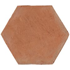 "Terra Cotta 9"" x 8"" Hexagano Tile in Brown"