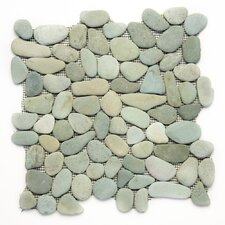 "Decorative Pebbles 12"" x 12"" Interlocking Mesh Tile in Turquoise"
