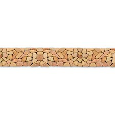 "Decorative Pebbles 39"" x 4"" Interlocking Border Tile in Sumatra Red"