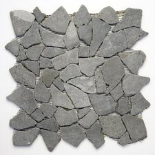 "Decorative Pebbles 12"" x 12"" Interlocking Mesh Tile in Java Black"