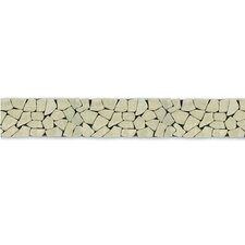 "Decorative Pebbles 39"" x 4"" Interlocking Border Tile in Green Gobos"