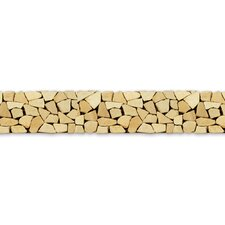 "Decorative Pebbles 39"" x 4"" Interlocking Border Tile in Bamboo"