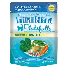 Platefulls Indoor Mackerel and Sardine In Gravy Cat Food Pouch (3-oz, case of 24)