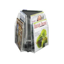 Safco Clear Magazine Table Display with 6 Pockets (2-Tier Triangular)