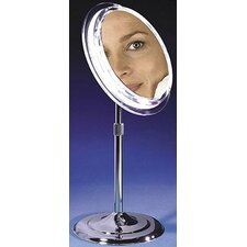 Makeup Mirror with Pedestal in Chrome
