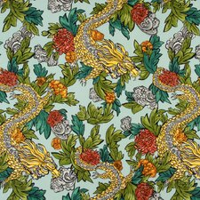 Ming Dragon Fabric - Aquatint