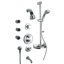 Thermostatic Tub and Shower Faucet Set with Hand Shower and Body Sprays