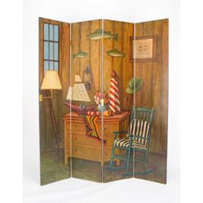 Fisherman 4 Panel Distressed Room Divider