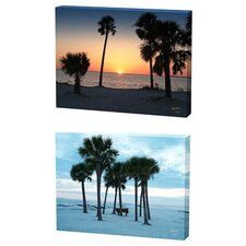Beach and Sunset Trees Limited Edition Canvas - Scott J. Menaul (Set of 2)