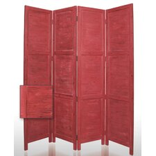 "84"" Nantucket Painted Room Divider in Red"