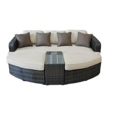 All Weather Wicker 4 Piece Lounge Seating Group with Cushions