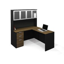 Pro-Concept L-Shaped Workstation With High Hutch  In Milk Chocolate Bamboo & Black