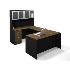 Pro-Concept U-Shaped Workstation With High Hutch In Milk Chocolate Bamboo & Black