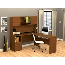 Flame Corner Desk with Hutch