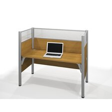 Pro-Biz Simple Workstation With 3 Melamine Privacy Panels & 3 Acrylic Glass Privacy Panels