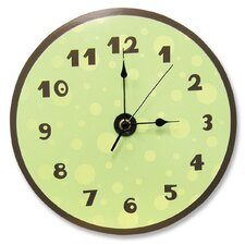 Polka Dots Wall Clock in Sage Green and Brown