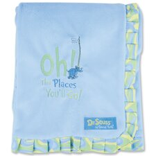 Dr. Seuss Oh The Places You''ll Go Receiving Blanket with Trimmed Ruffle