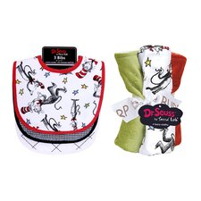 Dr. Seuss Cat in the Hat Bouquet Bib and Burp Cloth Set
