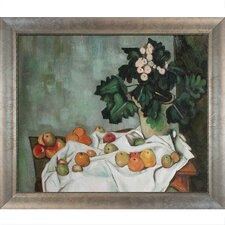 Still Life with Apples and a Pot of Primroses Canvas Art