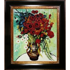 Vase with Daisies and Poppies Canvas Art