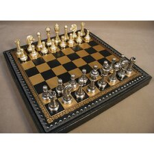 Staunton Metal on Leather Chest Chess Set