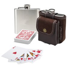 Hip Flask and Playing Cards
