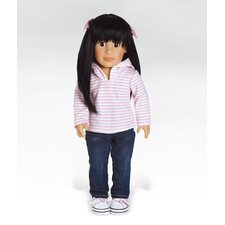 Girl Play Doll Lily Ready for Fun - Black Hair Brown Eyes