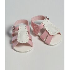 "20"" Doll Shoe Sandal Two Tome in Pink / White"