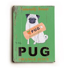 "Pug Planked Wood Sign - 20"" x 14"""