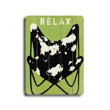 "Relax Planked Wood Sign - 20"" x 14"""