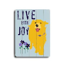 "Love With Joy Planked Wood Sign - 20"" x 14"""