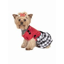 Buffalo Plaid Ruffled Dog Dress in Red/Black