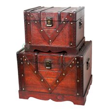 Old Style Treasure Chest in Antique Cherry (Set of 2)