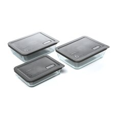 No Leak Lids Six Piece Value Pack Storage Dishes with Plastic Covers