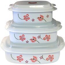 Coordinates Microwave Cookware and Storage Set with Pretty Pink Design