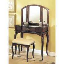 3-Piece Vanity Set with Trifold Mirror in Espresso